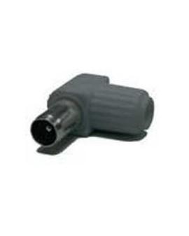 Conector IEC 9,5 mm macho blindado, acodado gris.