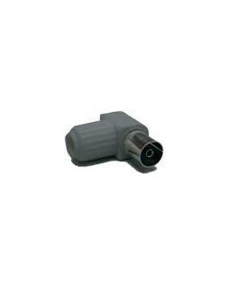 Conector IEC 9,5 mm hembra blindado, acodado gris.