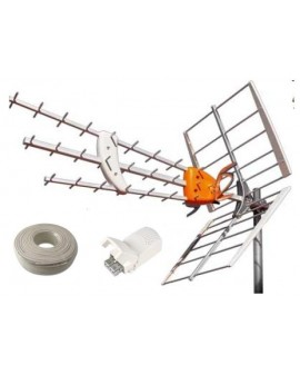 Kit Televes Antena DAT HD + Fuente + Cable.