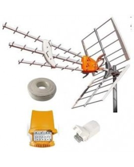 Kit Televes Antena DAT BOSS+Amplificador mastil +Fuente+ 25 mts Cable