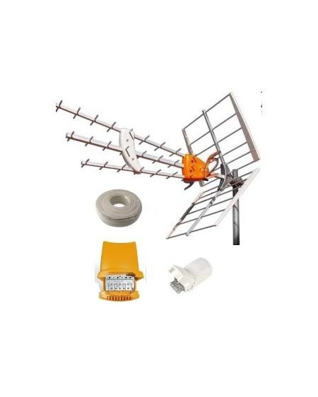 Kit Televes Antena DAT HD+Amplificador+Fuente+Cable