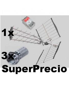 KIT 41 DB Antena HYDRA LTE + Amplificador TAM1224LTE + Conectores FTE
