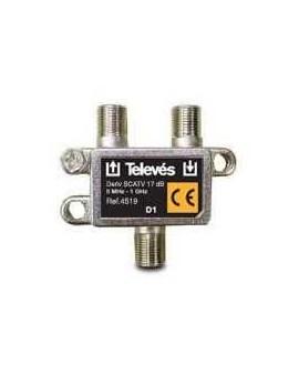 Derivador conector F, 1 salida, 17 dB Interior