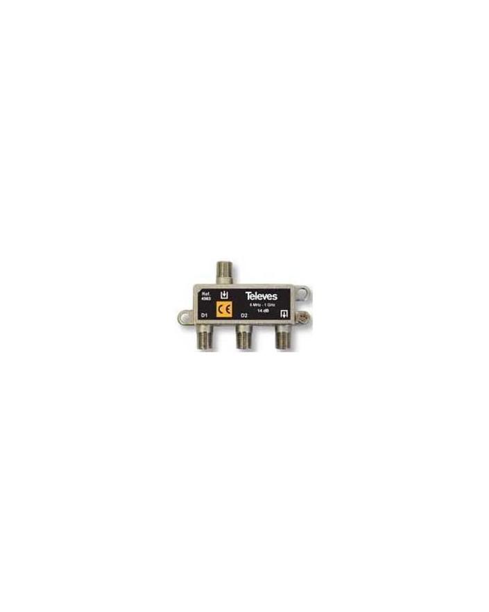 Derivador conector F, 2 salidas, 14 dB  Interior