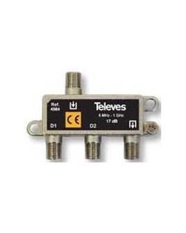 Derivador con conector F, 2d 17db Televes 4564