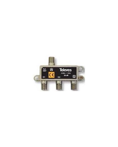 Derivador conector F, 2 salidas, 26 dB Interior