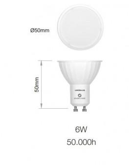 Bombilla LED Sharp dicroica GU10  Uniform Line 120º  6W  4000K coolwhite