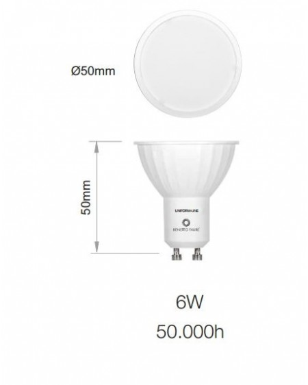 Bombilla LED Sharp dicroica GU10 Uniform Line 120º 6W 2700K warmwhite