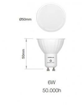 Bombilla LED Sharp dicroica GU10 Uniform Line 120º 6W 4000K coolwhite