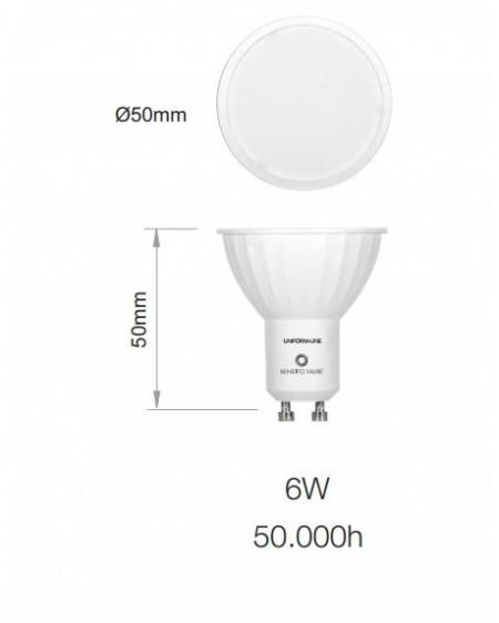 Bombilla LED Sharp dicroica GU10 Uniform Line 120º 6W 3000K warmwhite