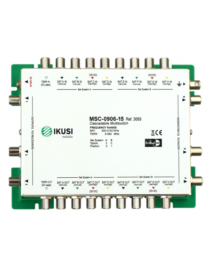 MSC -0906 Multiswitch FI cascadable 9 x 6 salidas. Atenuacion 15 dB ikusi 3689