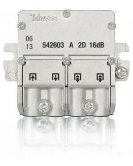 Mini Derivador conector easy F, 2 salidas, 16 dB Interior A (planta 2 y 3)
