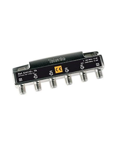 Derivador con conector F, 4 salidas 12db Interior con paso DC (TA planta 1)