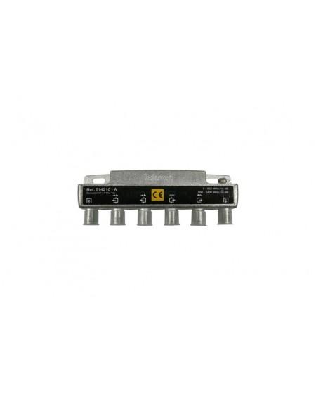 Derivador con conector F, 4 salidas 16 db Interior con paso DC (A plantas 2 y 3)
