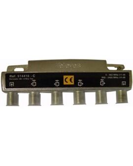 Derivador con conector F, 4 salidas 24 db Interior con paso DC (C planta 6...8)