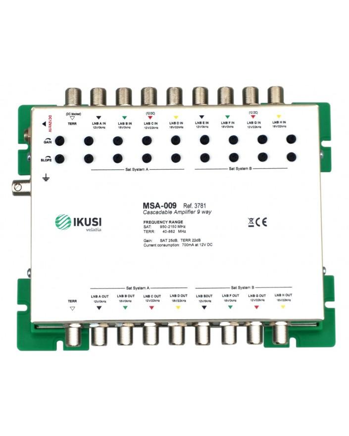 Amplificador 9 entradas (8 SAT + 1 TERR.) MSA-009