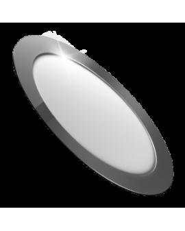 Downlight LED Circular Plano Cromo 18W Luz Cálida