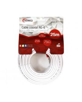 Rollo de cable coaxial de antena blanco, 25m