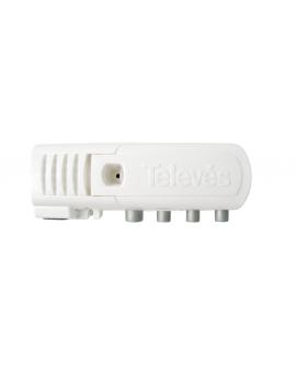 Amplificador TDT Televes 555720 de interior de vivienda con filtro LTE 5G de 1 Entrada 3 salidas (2 salida+TV) 47- 694 MHz 20 dB